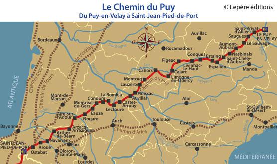 Carte de la Voie du Puy