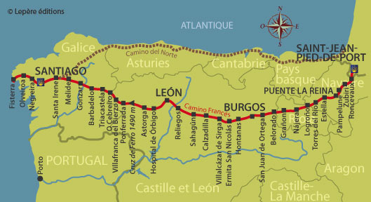 Les tapes du camino frances les guides lep re - Saint jean pied de port saint jacques de compostelle distance ...