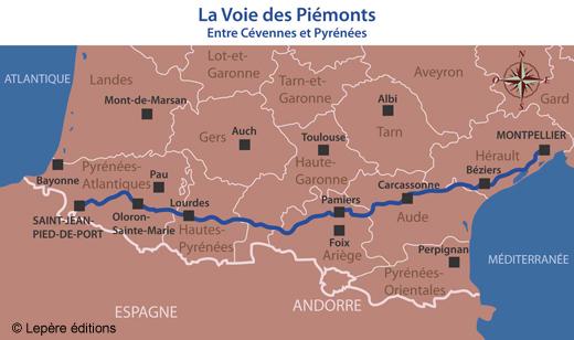 Les étapes de la voie du Piémont pyrénéen