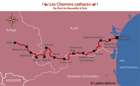 carte sentiers cathares