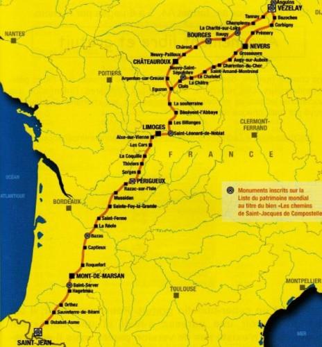 Les étapes de la voie de Vézelay